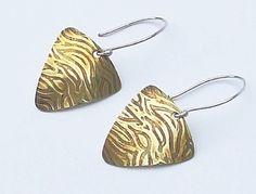 Textured brass ear rings with sterling silver by slinkylizard, $42.00
