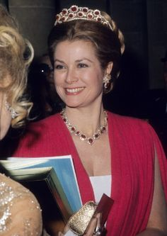 Princess Grace of Monaco wears Ruby Tiara and necklace at Gala for the restoration of the Castle of Versailles on 28 Nov 1973 in Versailles, France
