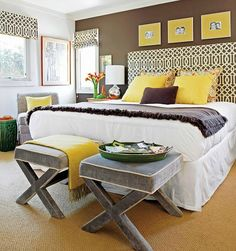 Loads of tips for how to decorate, organize and add style to a small bedroom. Paint one wall in an accent color to add depth and visual interest.