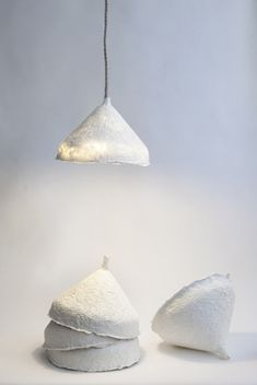 Lamp made of paper pulp by Papier a Etres