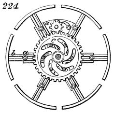 224. This represents an expanding pulley. On turning pinion, d, to the right or left, a similar motion is imparted to wheel, c, which, by means of curved slots cut therein, thrusts the studs fastened to arms of pulley outward or inward, thus augmenting or diminishing the size of the pulley. From the classic technical reference Five Hundred and Seven Mechanical Movements by Henry T. Brown. 1868