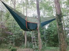 Innovative camping tent designed by tree house architect Alex Shirley-Smith to hang in the air and be suspended between trees.