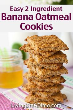 Easy 2 Ingredient Banana Oatmeal Cookies Recipe - Super Simple 2 Ingredient Recipes