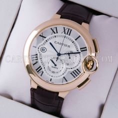 Ballon Bleu de Nice Cartier Extra Large Chronograph 18K Rose Gold Leather Watches