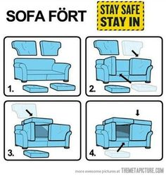 a fort using the cushions and the sofa