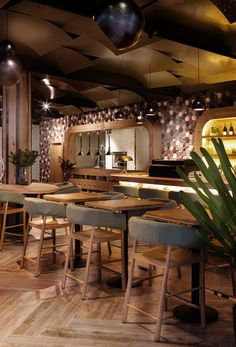 Wall Decor Idea – This Café Covered Their Walls With Concrete Tiles by Emma Maxwell DesignArchiExpo Design Bar Restaurant, Woods Restaurant, Terrace Restaurant, Wood Cafe, Wall Tiles Design, Ceiling Design, 2017 Decor, Restaurant Pictures, Wood