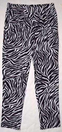 NWT Women's Stretch #Legging Pants #Zebra Print Elastic Waist Soft Lightweight #AnimalPrint