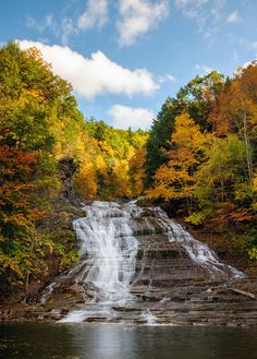 Falls 2 by Mark Papke Buttermilk Falls State Park, Ithaca, NY - Ithaca is GORGES! One of over a hundred waterfalls in the area, the cascading series of waterfalls that makes up Buttermilk State Park makes for a hike that cannot be missed. The Places Youll Go, Great Places, Places To See, Beautiful Places, Peaceful Places, Beautiful Scenery, Beautiful Pictures, Buttermilk Falls, Rainbow Falls