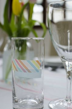 washi tape to spruce up your glassware