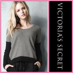 VICTORIA'S SECRET CASHMERE GREY SWEATER Feel the luxury of 100% cashmere in this Victoria's Secret sweater... Grey and black color block design with side VS gold tone logo... Tag size S but may fit a M... Ask for measurements to be sure... Gently used in good condition... If any questions/measurements lmk Victoria's Secret Sweaters Crew & Scoop Necks