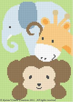 Crochet Pattern-SAFARI ANIMALS Monkey/Elephant/Giraffe