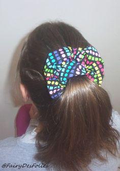 Chouchou polka dot arc en ciel coiffure fille queue de cheval couette tresse…