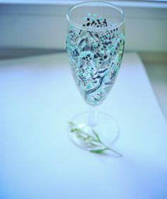 Ботанический🌿 Вдохновленная зеленью из цветов 🤗 #бокалы#шампанское#росписьпостеклу