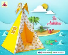 Kids Tents and Teepees for Sale by Playtents, India Kids Camping Tent, Kids Teepee Tent, Teepees, Teepee For Sale, Childrens Tent, Bamboo Poles, Hand Quilting, Birthday Parties, Kids Room