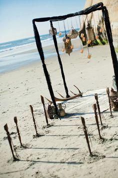 Earthy Beach Wedding Aisle