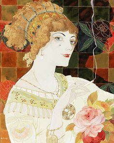 """Georges de Feure """"La Fumeuse"""" (2) 1910 **back ground with shadow and use of flowers."""