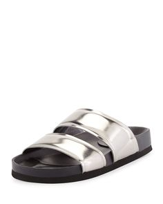 Vince Orion Metallic Leather Double-Band Slide, Pewter (Silver), Women's, Size: 37B/7B