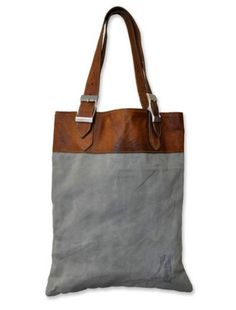 leather top, grey tote