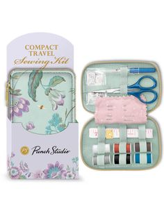 """Sewing Kit by Punch Studio Each sewing kit includes 6 thread spools, measuring tape, scissors, 2 pins, 2 needles, 4 buttons, 2 snaps, 2 safety pins, seam ripper and 1 threader in protective coordinating packaging sleeve Size (closed): 23⁄4"""" x 1"""" x 43⁄8"""" Safety Pins, Thread Spools, Tape Measure, Sewing Kit, Travel Accessories, Scissors, Punch, Packaging, Buttons"""