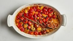 Slow-roasted tomatoes with coriander and thyme - Douse cherry tomatoes in lots of olive oil and slow-roast to golden deliciousness. Roasted Vegetable Recipes, Roasted Vegetables, Veggies, Veggie Recipes, Red Wine Vinegar Recipes, Bon Appetit, Cherry Tomato Recipes, Rosemary Recipes, Olive Recipes