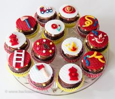 A small firefighter fan was really happy about my firefighter cupcakes for his birthday. Practice makes perfect I find my cu Firefighter Cupcakes, Fireman Cupcakes, Minion Cupcakes, Birthday Cake Bakery, Fire Cake, Firefighter Birthday, Birthday Cakes For Women, Superhero Cake, Themed Cupcakes