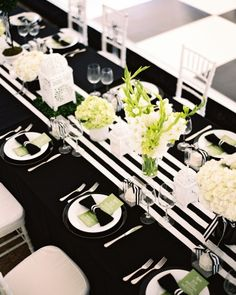 Green, black, and white centerpieces