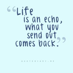 Life is an echo;
