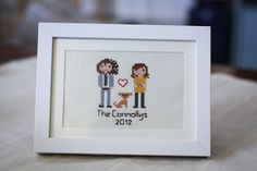 Stitch People makes custom cross-stitch portraits for your family.  Super cute and unique gift idea!