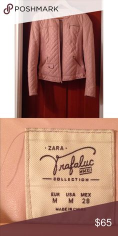 Zara quilted pink faux leather jacket Medium Zara faux light pink in color quilted leather jacket. Size Medium. Worn only for a few hours, in great condition. No tears/stains. Like new Zara Jackets & Coats