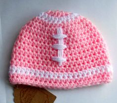 Football Hat / Beanie for Baby Girl 0 to 3 by TheCrochetCauldron, $15.00