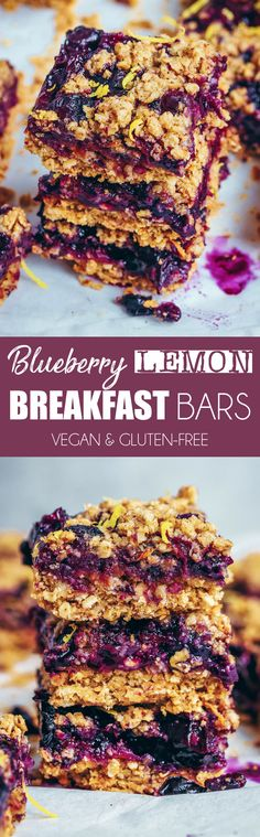 Blueberry Lemon Breakfast Bars #breakfast #blueberries #lemon #oats #oatmeal #healthy #vegan #dairyfree #glutenfree #bars #squares #crumble #dairyfree #snack #dessert #treat