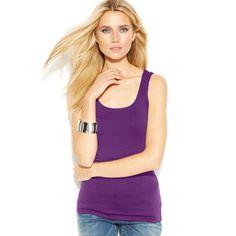 I.N.C. International Concepts Purple Soft Square Neck Tank