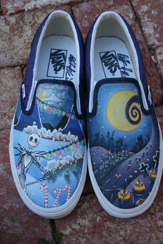 Hand Painted vans that are Nightmare Before Christmas themed. Nightmare Before Christmas Custom Painted Shoes, Custom Shoes, Painted Vans, Hand Painted, Vans Custom, Painted Sneakers, Crazy Shoes, Me Too Shoes, Dream Shoes