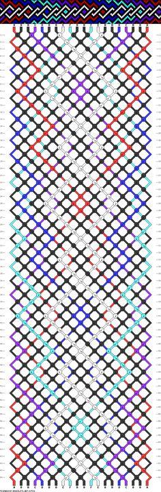friendship bracelet pattern ● 20 strings ● 6 colors ● A(2), B(10), C-F(2)