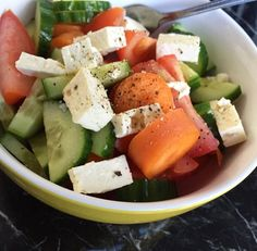 light salad {carrot, cucumber, tomato, and feta cheese with raspberry vinegar and pepper}