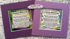 FAMILY BLESSING #5x5 Original #Poem by #Raphaella_Vaisseau #Heartfulart #Etsy $7.95 #family #blessing #family_blessing #square #purple #new_baby #new_home