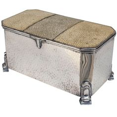 English Art Deco Silver And Tri-Tone Shagreen Box.  Shagreen is a rough, untanned leather that is sanded down to make it smooth.