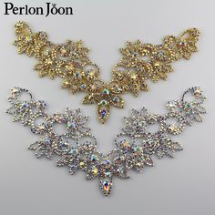 Cheap ab crystal, Buy Quality crystal ab directly from China rhinestones crystal ab Suppliers: Ab Crystal collar Rhinestone sew-on necklace adornment for Wedding Dress Skirt Flashing Clothing Accessories Tambour Embroidery, Hand Embroidery Videos, Hand Embroidery Designs, Rhinestone Necklace, Crystal Rhinestone, Dyi Couture, Drape Dress Pattern, Motifs Perler, Bead Art