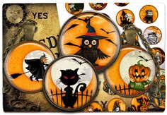 Digital Collage Sheet - Halloween - Cabochon images 1.5inch 18mm 14mm 1inch circle Printable images Instant download bottle caps C118 - pinned by pin4etsy.com
