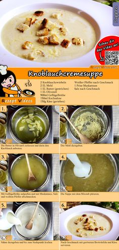 Creamy garlic soup recipe with video. Detailed steps on how to prepare this easy and simple Creamy garlic soup! Cream Soup Recipes, Easy Soup Recipes, Whole Food Recipes, Cooking Recipes, Cooking Cream, Foil Pack Meals, Garlic Soup, Healthy Snacks, Healthy Recipes