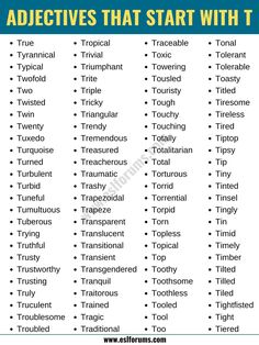 Adjectives that Start with T: List of 200+ Adjectives Starting with T in English