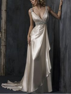 V Neck Beading Backless Sweep Train Evening Dress
