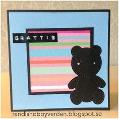 Randis hobbyverden: Barnekort med Bamse i blått