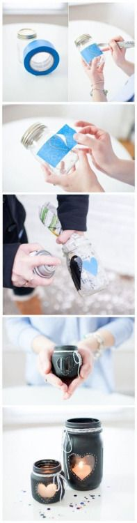 Mason jar peek a boo candle holder DIY with painters tape, spray paint, and heart shape (or whatever shape or letter or designs u want) would be good to use up baby food jars too