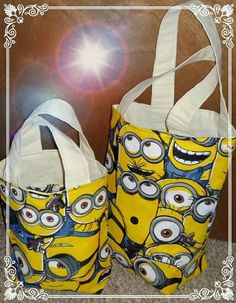 Mini Minion Tot Bag Ideal for. school books Children PE kits Lunch bag And many more things. This listing is for the smaller bag measuring approx x with handles high. Minion Bag, Minions, Diaper Bag, Stitches, My Etsy Shop, Reusable Tote Bags, Quilts, Trending Outfits, Unique Jewelry