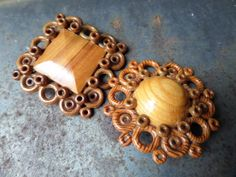 Wood Brooch Wood TextureHand Made BroochRetro by CodettiSupply, $17.00