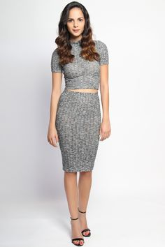 Buy Online Marled Knit Mock Neck Crop Top & Midi Skirt Two Piece - $32.00