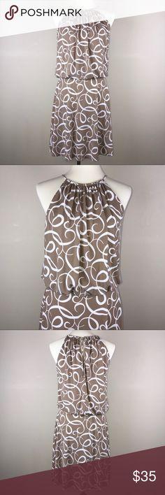 Maggy London blouson tan/white swirl design dress Beautiful Maggy London blouson style summer halter dress with a white swirl design and a tie back. Maggy London Dresses High Low