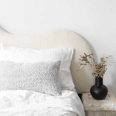 """Cultivate Design Co on Instagram: """"Our boucle curved bedhead is pure elegance. #bedhead #bedroomdecor"""" Architecture Concept Diagram, Bedhead, Bed Pillows, Pillow Cases, Bedroom Decor, Trends, Pure Products, Elegant, Instagram"""