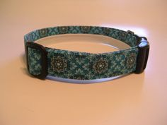 Handmade Cotton Dog Collar - Black and White Flowers on Teal by WalkingTheDog on Etsy